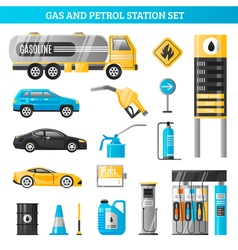 Gas And Petrol Station Set vector
