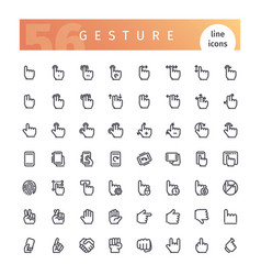 Gesture line icons set vector