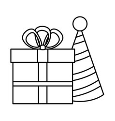 gift box present with hat vector image