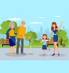 granddaughters meet grandparents flat vector image