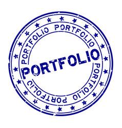 Grunge blue portfolio word with star icon round vector