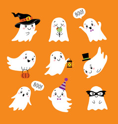 halloween set cute funny ghosts vector image