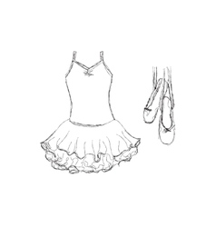 Hand drawn ballet tutu and shoes vector image