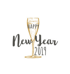 happy new year 2019 a glass of champagne vector image