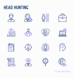 head hunting thin line icons set vector image