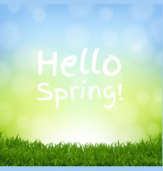 hello spring nature background with grass border vector image