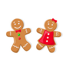 Holiday gingerbread boy and girl isolated vector