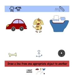 Homework for kids How to draw a line between the vector image