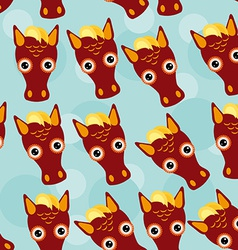 Horse Seamless pattern with funny cute animal face vector