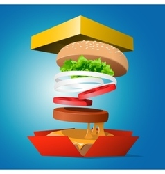 Ingredients hamburger ejected from packaging vector