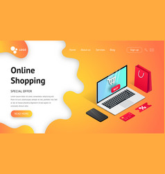 landing page shopping isometric laptop vector image