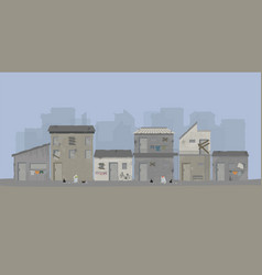 Landscape of slum city or old town slum urban area vector