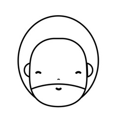 Line man face with beard and hairstyle to avatar vector