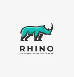 Logo rhino elegant mascot cartoon style vector