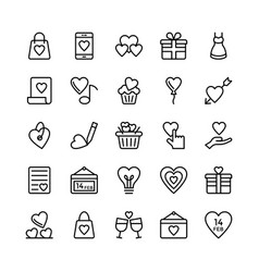 Love and valentine line icons 4 vector