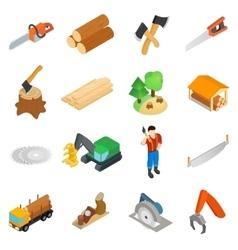 Lumberjack icons set isometric 3d style vector image