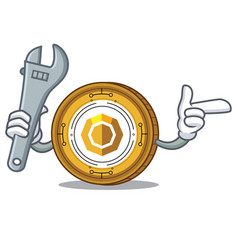 Mechanic komodo coin mascot cartoon vector