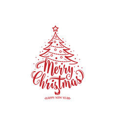 merry christmas and happy new year text xmas tree vector image