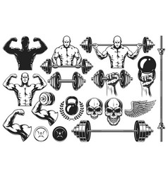 Monochrome elements for bodybuilding vector