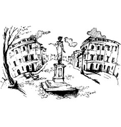 Monument to duc de richelieu in odessa odessa vector