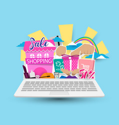 online shopping concept on laptop vector image