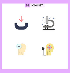 Pack 4 modern flat icons signs and symbols for vector