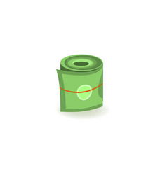 Pack of green dollar paper banknotes rolled up vector