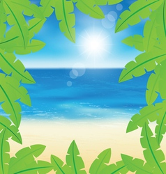 Palm leaves on sand beach background vector
