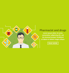 Pharmacist and drugs banner horizontal concept vector