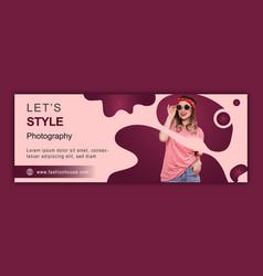 Photography social media cover template design vector