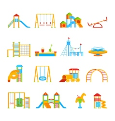 Playground Equipment Icon Set vector image