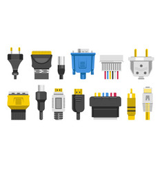 Plugs and connectors or connection cables wiring vector