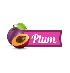plums with caption isolated on white background vector image