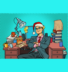 pop art businessman christmas workplace vector image