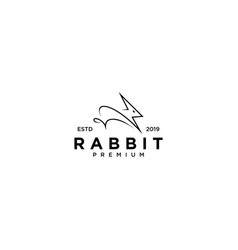 Rabbit flash logo line outline monoline art icon vector