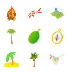 Rain-forest icons set cartoon style vector