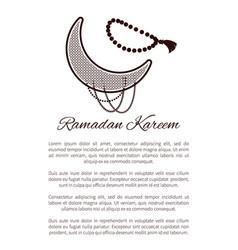 Ramadan kareem poster crescent muslim prayer beads vector