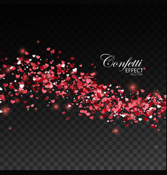 Red glittering heart confetti vector