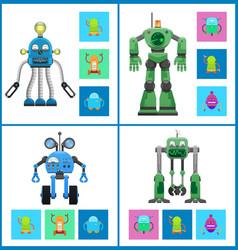 Robots with light indicators and detectors panel vector