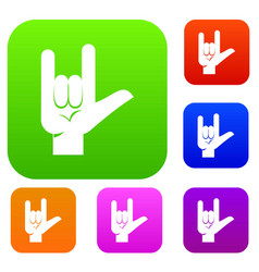 rock gesture set color collection vector image