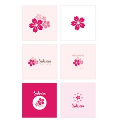 Sakura set template design vector