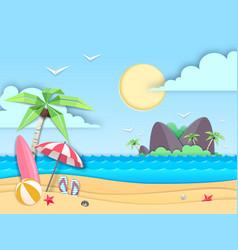 Sea or ocean landscape sea beach cut out paper vector