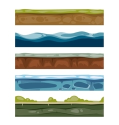 Seamless landscape elements ground ice water vector