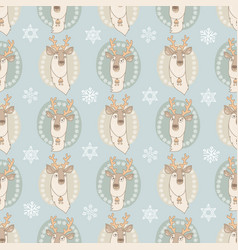 seamless pattern with cute deer on light vector image