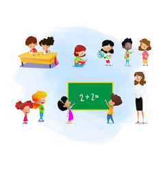 set kids and their teacher with school supplies vector image