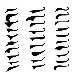 set retro typography text tails element vector image