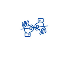 Sign language interpretation line icon concept vector