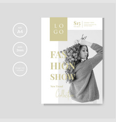 simple and minimalist fashion show flyer template vector image