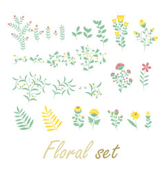 Sloral set colorful collection with flowers and vector