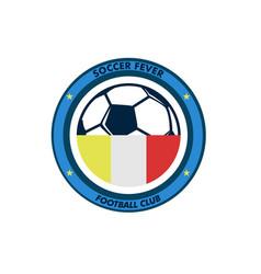 soccer fever simple circular footbal club emblem vector image